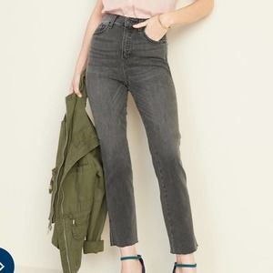 Old Navy High Waisted Raw Edged Flare Ankle Jeans